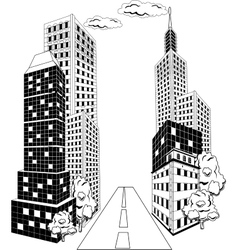 Cartoon City downtown vector image vector image