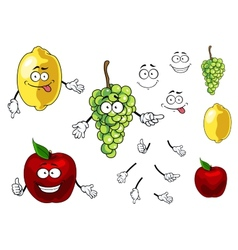 Cartoon smiling apple grape and lemon fruits vector image vector image