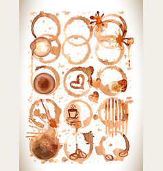 coffee stains splashes and harts coffee se vector image vector image