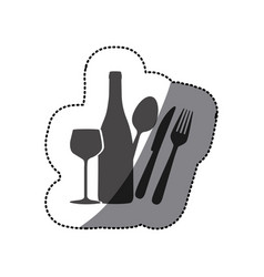 grayscale wine bottle glass and cutlery icon vector image vector image
