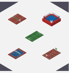 Isometric competition set of b-ball soccer vector