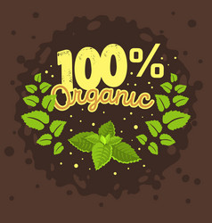 organic product label logo design with a mint vector image vector image