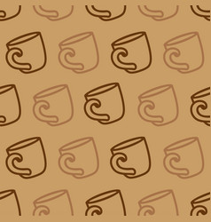 Seamless pattern with coffee mug on a brown vector