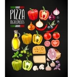 Set of pizza ingredients vector image