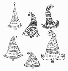 Set of six black outline decorative hand drawn vector image