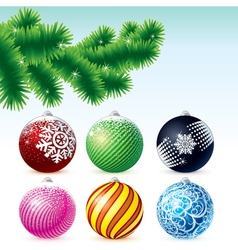 xmas baubles collection with fir tree branch vector image