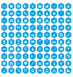 100 nursery school icons set blue vector