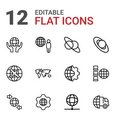 12 planet icons vector image
