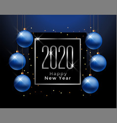 2020 happy new year greeting with blue christmas vector