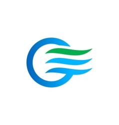 air flow icon water eco logo vector image