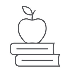 apple on the books thin line icon school vector image