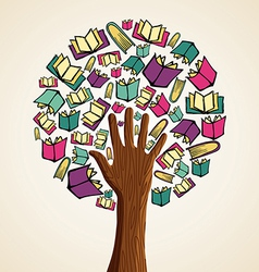 Art hand books tree vector image