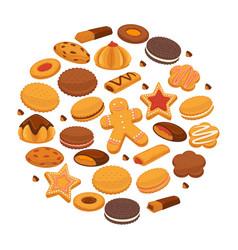 Bakery cookies and patisserie biscuits biscuits vector