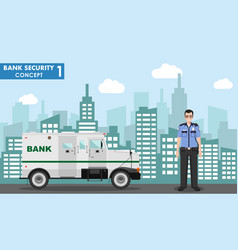 Bank security concept detailed armored car vector