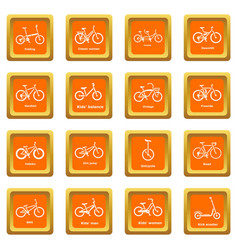 Bicycle types icons set orange square vector