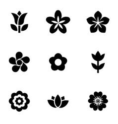 black flowers icon set vector image