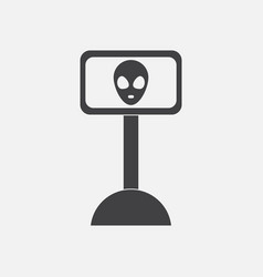 Black icon on white background alien on the vector