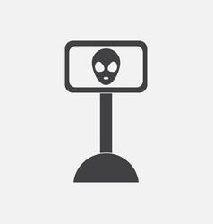 Black icon on white background alien vector