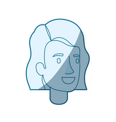 Blue color silhouette shading of woman face with vector