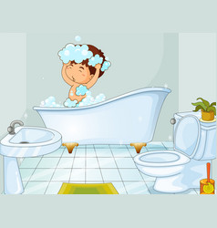 Boy taking bath in bathroom vector