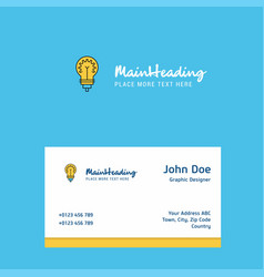 bulb logo design with business card template vector image