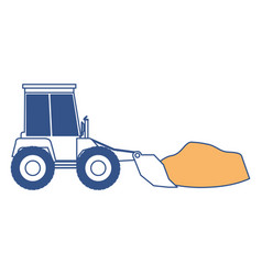 bulldozer with rocks on color section silhouette vector image