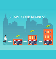 businessman starts his own business flat design vector image