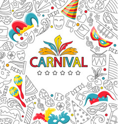 carnival celebration card with hand drawing icon vector image