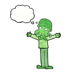 cartoon alien squid face man with thought bubble vector image