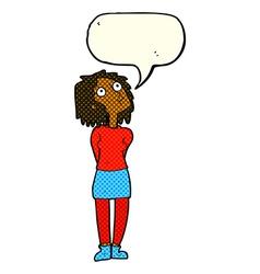 Cartoon curious woman with speech bubble vector
