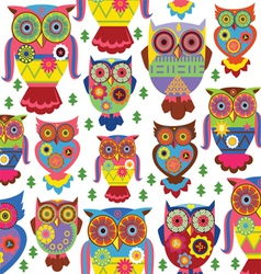 cartoon owl pattern white background vector image