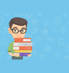 caucasian school child holding pile of textbooks vector image
