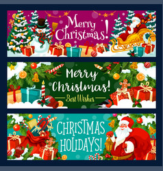 christmas banner with xmas holiday gift and santa vector image