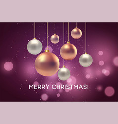 christmas blurred pink background with bauble vector image