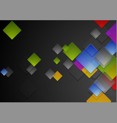 colorful abstract glossy squares on black vector image