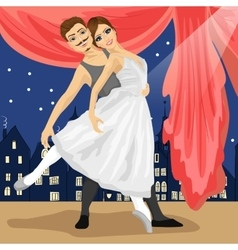 Couple of ballet dancers posing over scenery vector image