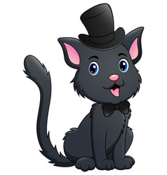 Cute black cat cartoon vector