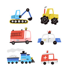 cute cartoon cars collection isolated on vector image