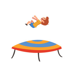 Cute happy boy jumping on trampoline smiling vector