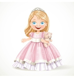 Cute little princess in magnificent pink dress vector