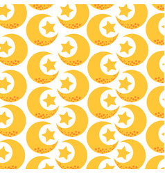 Cute moon and stars pattern vector