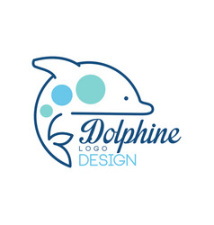dolphine logo design abstract emblem with dolphin vector image