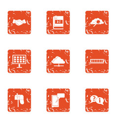 Energy search icons set grunge style vector