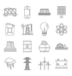 energy sources items icons set outline style vector image