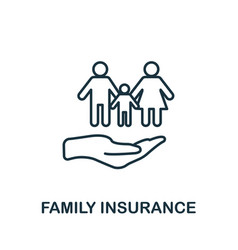 Family insurance outline icon thin line style vector