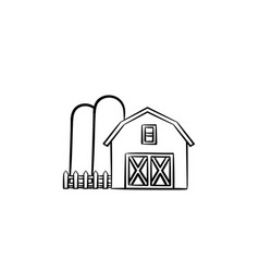 Farm shed hand drawn sketch icon vector