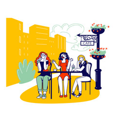 Female characters sitting in outdoor cafe drinking vector