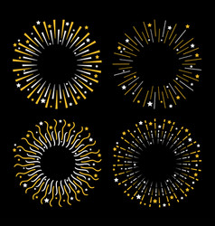 festive fireworks star sparkle sunburst round vector image