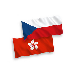 flags czech republic and hong kong on a white vector image