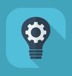 Flat modern design with shadow bulb and gear vector